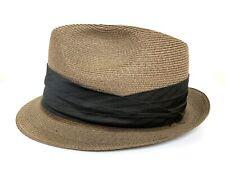 Vtg 1960s KNOX Straw Fedora 7 1/4 to 7 3/8 Panama Hat STINGY BRIM Jazz trilby