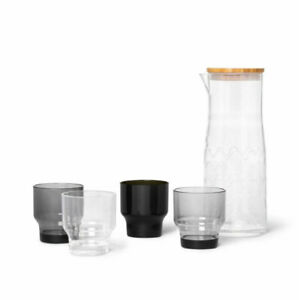 Marimekko for Target Carafe Drinkware Set 5 pc - Lokki Print - Black, NEW SEALED