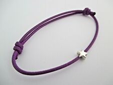 Purple Waxed Cotton Cord Friend Surfer Bracelet with Tibetan Silver Star Bead