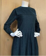 Vintage Laura Ashley very modest square collar green cotton fine cord dress 6 34