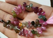 """MULTI TOURMALINE PEAR FACETED BRIOLLETE 5X7 MM, 8"""" LOOSE GEMSTONE BEADS"""