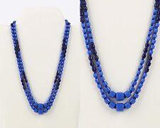 VTG 1940s GLASS SAPPHIRE COBALT LAPIS BLUE BEAD BRONZE DOUBLE STRAND NECKLACE