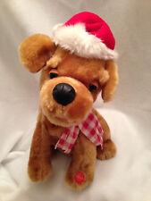 """Christmas Singing Dog Plush Stuffed Animated Howls Barks Santa Hat 11"""""""