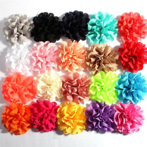 30pcs 10cm Eyelet  Artificial Fabric Chiffon Hair Flowers For Baby Headbands