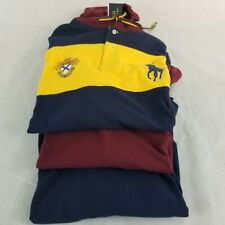 NEW Men Polo Ralph Lauren Long/Sleeve Big Pony Crown logo Red Navy M Classics