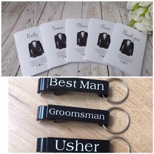 Wedding Thank you Card and bottle opener keepsake - Best man - Groomsman - Usher