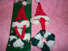 NEW SANTA HAT AND COLLAR WITH BELLS DOG OR CATS  LOT OF 2