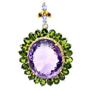 Handmade Oval Amethyst 37ct Chrome Diopside Gems 925 Silver Pendent Brooch