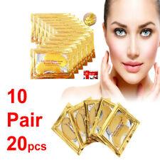 10 Pair Crystal Collagen 24k Gold Under Eye Gel Pad Face Mask Anti Aging UK