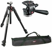 Manfrotto MT055XPRO3 Aluminium Tripod Kit + 3-Way Video Head + QR Plate Bundle