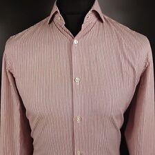 HUGO BOSS Mens Dress Shirt 39 15.5 SMALL Long Sleeve Slim Fit Striped Cotton