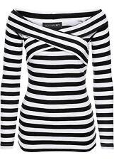 Carmen Viskose Pullover Gr. 40/42 - 52/54 schwarz/weiß gestreift 956443