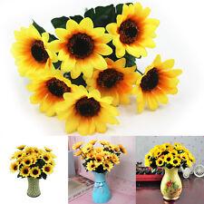 New 7 Heads Artifical 7cm Sunflower Cloth Flower Bouquet Home Decor Dance Props