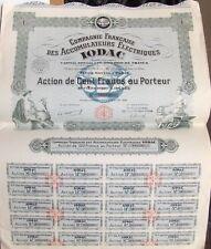 Accumulateurs Electriques - Electric Accumulators Iodac, 1928 French bond 100 Fr