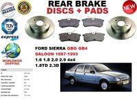 Per Ford Sierra Gbg GB4 Berlina 87-93 Set Dischi Freni Posteriori + Pastiglie
