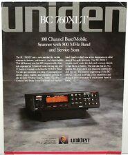 RARE Original Color 2 Sided Brochure for UNIDEN BC-760XLT Base / Mobile Scanner