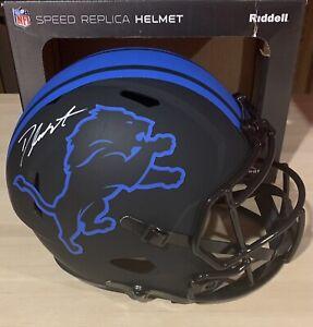 D'Andre Swift Signed Detroit Lions FS Eclipse Speed Helmet - Fanatics COA