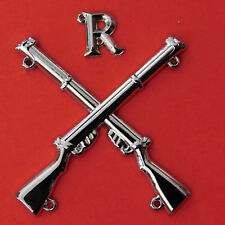 """MARKSMAN BADGE CROSSED LEE ENFIELD .303 RIFLES WITH LETTER """"R"""" SILVER PLATED"""