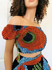 CHANTAL Woman African Print Off-Shoulder Crop Top 100% Wax Cotton Handmade UK