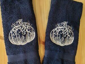 LACE FALL PUMPKIN THANKSGIVING HALLOWEEN HAND TOWEL SET CUSTOM EMBROIDERED
