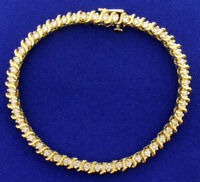 "10.00 Carat Round Cut 7 1/2"" 14k Yellow Gold Finish Women's Tennis Bracelet"