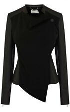 Karen Millen Luxury Faux Leather & Fabric Drape Jacket UK Size 10