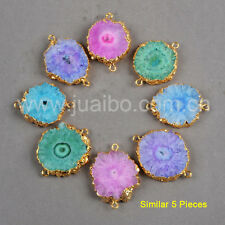 5Pcs Gold Plated Mixed Color Solar Quartz Flower Connector Jewelry Making GG0246