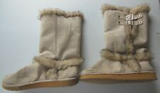 Qupid Boots - Fur Lined - Beige - Size 10