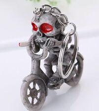 Skeleton Smoking On Bike Pendant Rubber Keyring Skull Purse Bag Key Chain