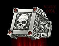 New Skull Skeleton Red Crystal Embossed Head Silver Mens Gothic Biker Ring