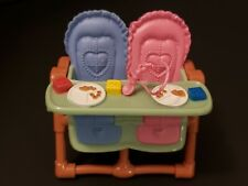 FISHER PRICE LOVING FAMILY DOLLHOUSE TWIN BABY HIGHCHAIR BLUE PINK DIORAMA