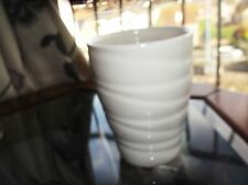 "SMALL POT / VASE WHITE GLAZED SWIRL BODY 5.25"" HIGH 31009 IMPRESSED BASE"