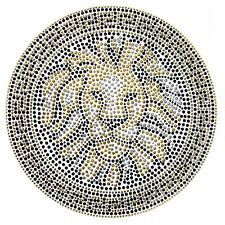 Rhinestone Transfer Hot fix Motif Fashion Design Jewellery Round Gold Lion deco