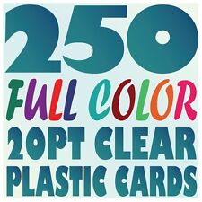 250 Full Color Custom 20pt CLEAR PLASTIC BUSINESS CARD Printing w Round Corners