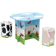 KROOOM Garden animali da fattoria in cartone TAVOLO E 2 SEDIE SGABELLI KID Set Mobili