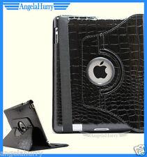 Black Apple iPad 4 4G iPad 3 iPad 2 Smart Crocodile Leather Rotate Case Cover