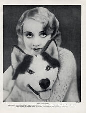 ESKIMO SLED DOG ALASKAN MALAMUTE WITH FILM STAR CAROL LOMBARD OLD 1934 PRINT