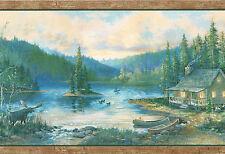 ECHO LAKE MOOSE LOG CABIN CANOES DUCKS BIRCH TREES COUNTRY Wallpaper Wall bordeR