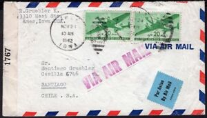 4020 US TO CHILE WWII CENSORED AIR MAIL COVER 1942 AMES, IA - SANTIAGO