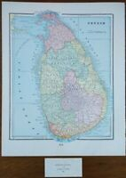 "Vintage 1900 CEYLON - SRI LANKA Map 11""x14"" ~ Old Antique Original COLUMBO"