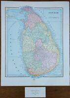 "Vintage 1900 CEYLON - SRI LANKA Map 11""x14"" ~ Old Antique Original COLUMBO"