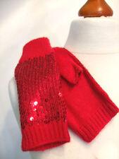 Fingerlose Handschuhe Stulpen Pulswärmer mit Pailletten rot pink uni Glamour K5