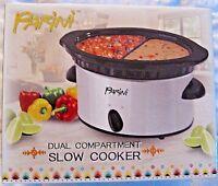 NEW Parini Dual Compartment Slow Cooker 2 - 16 oz. Compartments.