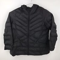 Womens Plus Size 22/24 Lane Bryant Quilted Black Full Zip Puffer Jacket w/ Hood
