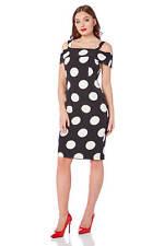 Roman Originals Women's Black Polka Dot Bardot Dress Sizes 10-20
