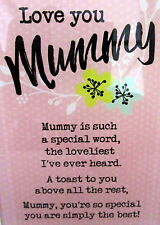 "SENTIMENTAL GLASS PLAQUE ""LOVE YOU MUMMY"" INSPIRATIONAL VERSE LOVELY GIFT BN"