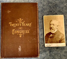 1884 BOOK TWENTY YEARS OF CONGRESS VOL 1 JAMES BLAINE & CABINET CARD PHOTO
