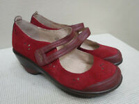 Women's JAMBU SCARLET 9.5 Red Mary Jane Strappy Wedge Heels Pumps Shoes