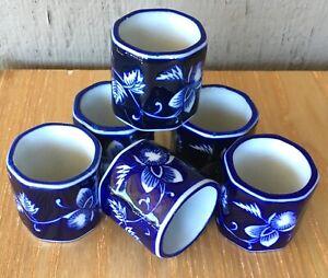Pier One Cobalt Blue White Floral Ceramic Napkin Rings Set of 6 Glossy Mandarin