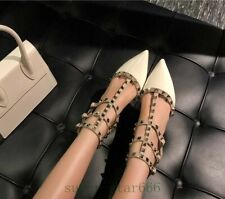 Women's Patent Leather Rivet Buckle Ankle Heels Shoes Pointy Toe Sandals Beige